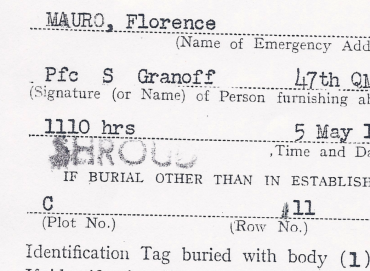 "Detail from Babe's Report of Burial indicated ""shroud"" below the time and date of his burial."